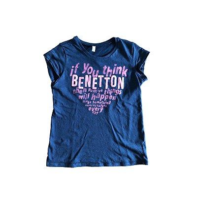Camiseta Benetton Azul Marinho e Rosa