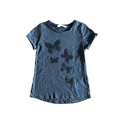 Camiseta H&M Cinza com Borboletas Bordadas