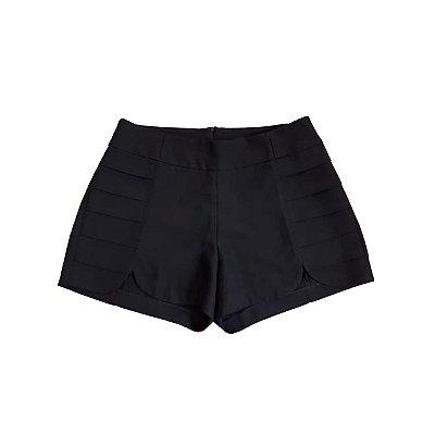 Shorts Preto LAVISH com Detalhes nas Laterais