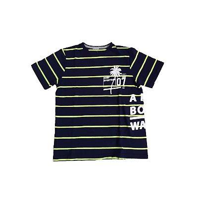 Camiseta Listrada Infantil Azul e Neon