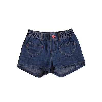 Shorts CARTER'S Infantil Jeans Molinho Bolso Coração