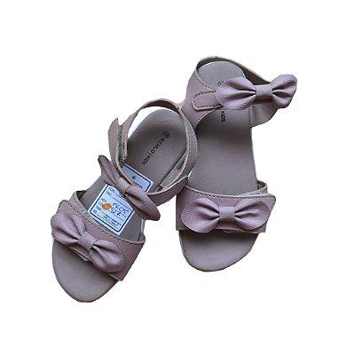 Sandália Velcro Infantil Rosa com Laço