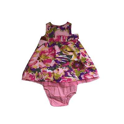 Vestido baby GAP Infantil Rosa Estampado de Roxo e Verde