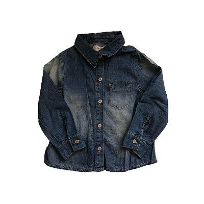 Camisa Infantil Jeans com Detalhe em Renda nas Costas