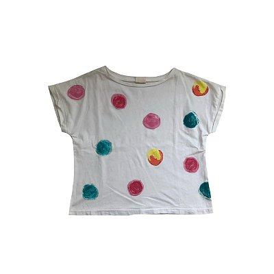 Camiseta ZARA KIDS Branca com Bolas Coloridas