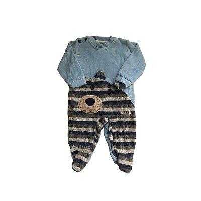 Macacão MINICLO Infantil Azul Claro com Listras Urso