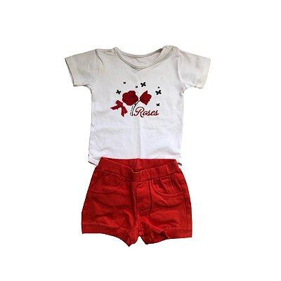 Conjunto MINI E KIDS Infantil Bodie Branco e Shorts Vermelho