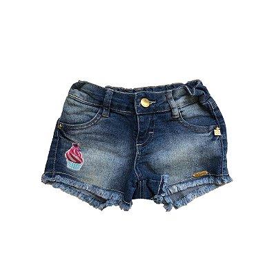 Shorts Jeans PLANET KIDS Infantil Azul Cupcake