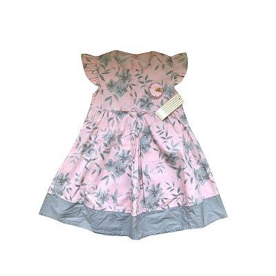 Vestido MILON Infantil Rosa Flores Cinzas (Etiqueta)
