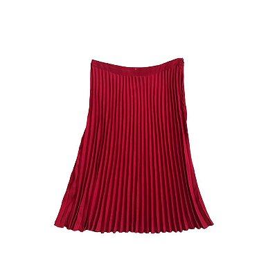 Saia Midi H&M Feminina Vermelha Plissada