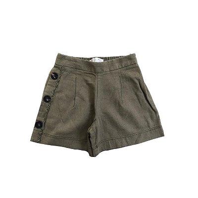 Shorts ZARA infantil Verde Militar Botões Lateral