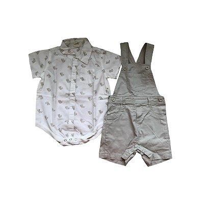 Conjunto Jardineira e Camisa TEDDY BOOM Infantil Cru