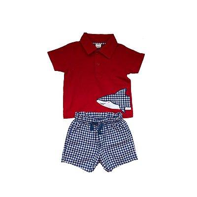 Conjunto Polo e Shorts CARTER'S Infantil Vermelho e Xadrez