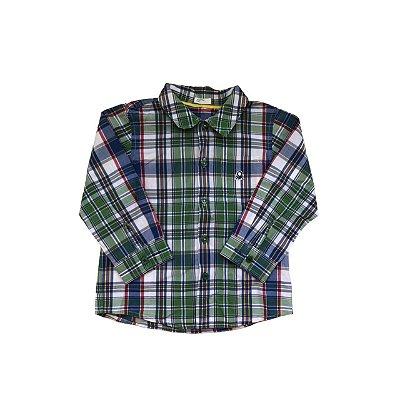 Camisa Xadrez BENETTON Infantil Verde e Azul