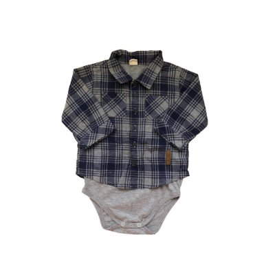 Bodie Camisa Xadrez GREEN Infantil Azul e Cinza
