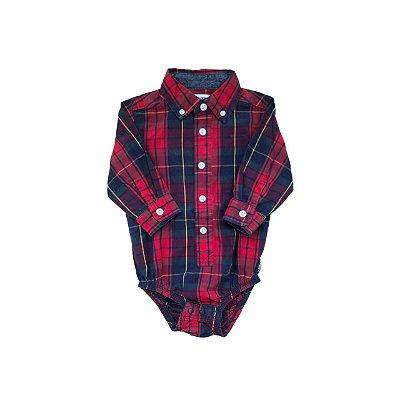 Bodie Camisa Xadrez OSHKOSH Infantil Azul e Vermelho