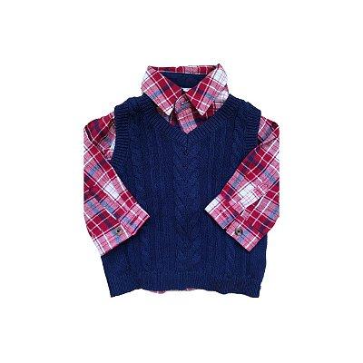 Camisa Xadrez com Colete CAT & JACK Infantil Azul e Vermelho