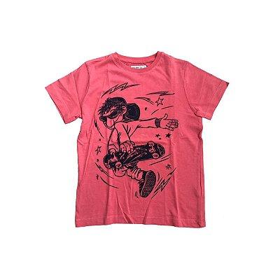 Camiseta ZARA Infantil Rosa Menino de Skate