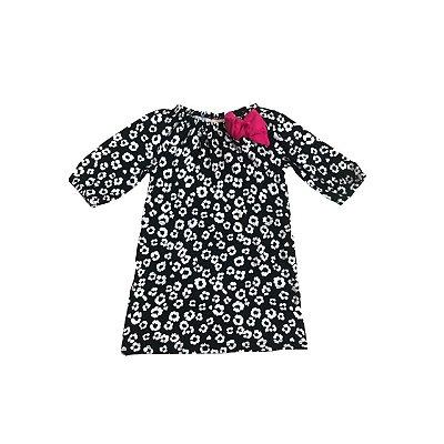 Vestido GYMBOREE Infantil Preto e Branco com Laço Rosa