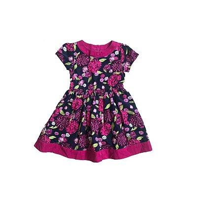 Vestido GYMBOREE Infantil Marinho e Pink Florido Veludo