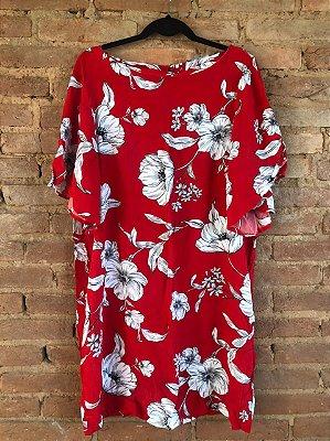 Vestido CORTELLE Feminino Vermelho Flores Brancas