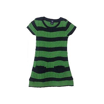 Vestido Trico GAP KIDS Verde e Marinho Listrado