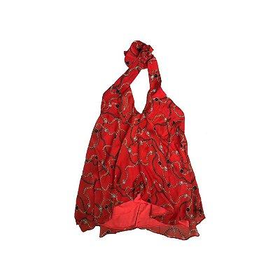 Blusa Animale Frente Única Vermelha correntes de Seda