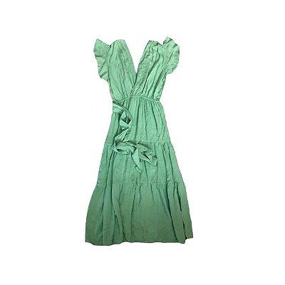 Vestido Midi Verde Água com Amarração na Cintura