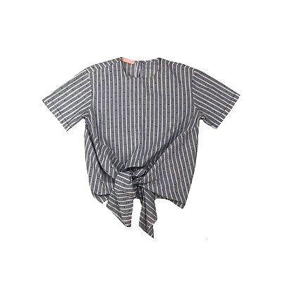 Blusa INFINITE Feminina Listrada Branca e Azul