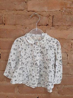 Camisa ZARA Branca com Estampa Galhos Pretos
