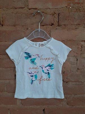 Camiseta OSHKOSH Infantil Branca HAPPY AND FREE