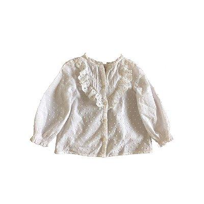 Camisa ZARA Infantil Branca Poá