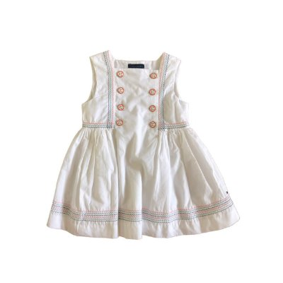 Vestido TOMMY HILFINGER Infantil Branco com Costuras Coloridas