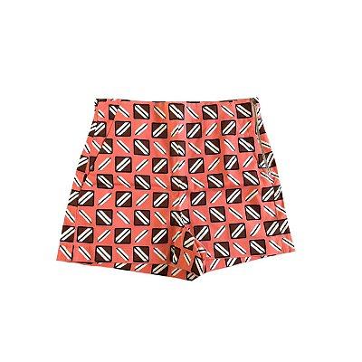 Shorts ZARA Feminino Estampado Rosa, Marrom e Branco