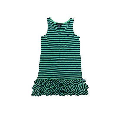 Vestido RALPH LAUREN Infantil Verde e Marinho Listras