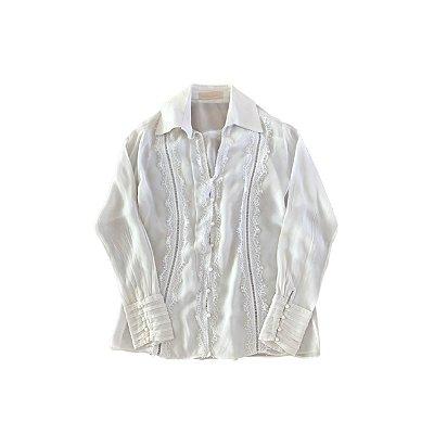 Camisa de Seda ATELIER LINAH Feminina Branca com Detalhes em Renda