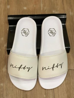 Chinelo Slide Nifty White/Black