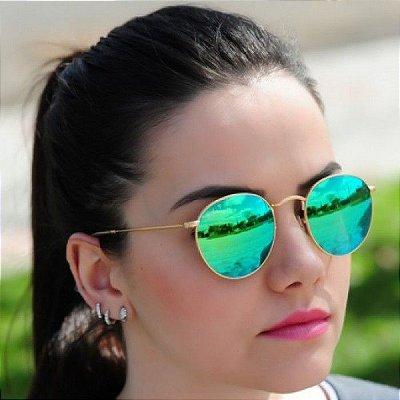 Óculos Ray ban Round Verde Espelhado