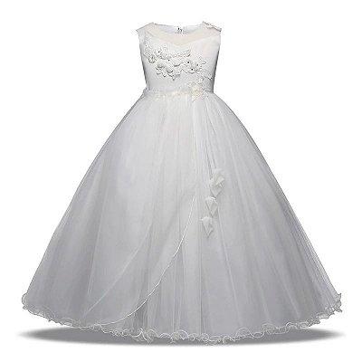 vestido importado de gala para dama de honra com bordados e apliques no peito