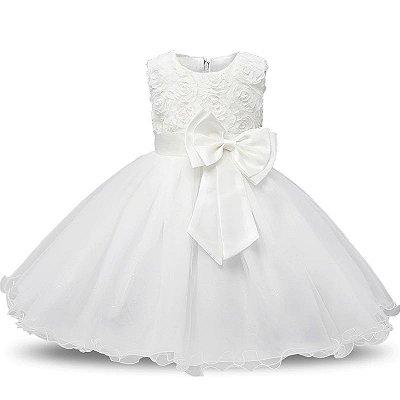vestido de festa de gala infantil para batizado e dama de honra