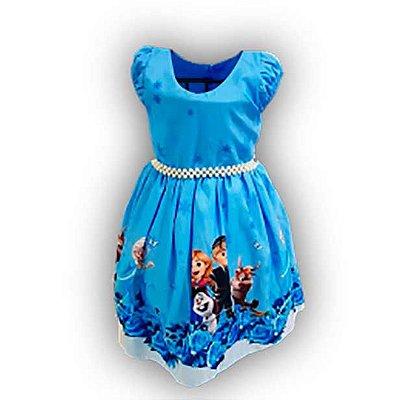 Vestido de Festa Temático Infantil da Frozen