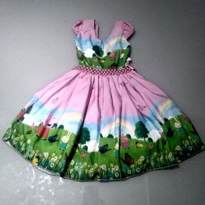 Vestido de Festa Temática Infantil da Peppa Pig