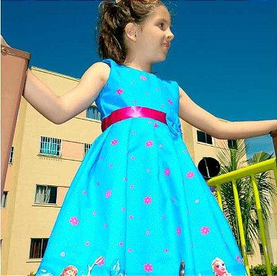 Vestido de Festa Infantil Temática da Frozen