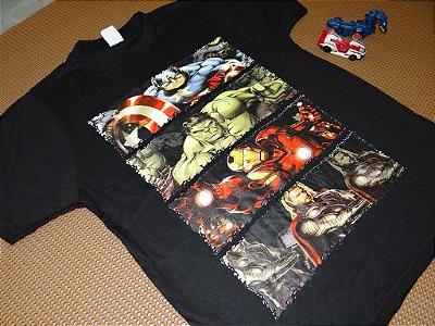 Camisetas de Personagens (Patrulha Canina, Sonic, Homem de Ferro, Homem Aranha, Vingadores, Hulk, Batmam)