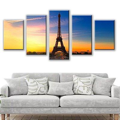 Quadro Decorativo Torre Eiffel 5 Partes 115x50cm