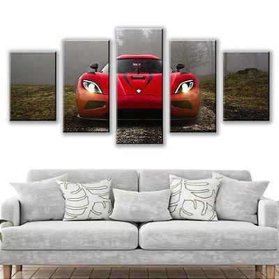 Quadro Decorativo Carro de Frente 5 Partes 115x50cm