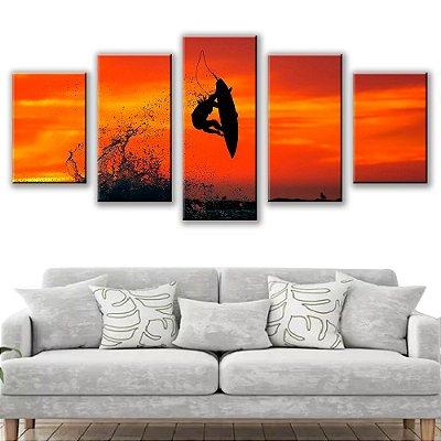 Quadro Decorativo Surf 5 Partes 115x50cm