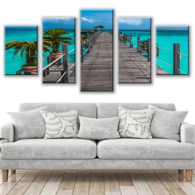 Quadro Decorativo Deck Praia 5 Partes 115x50cm