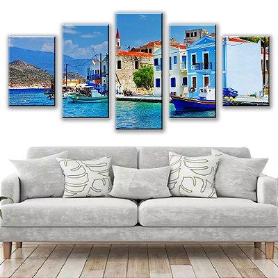 Quadro Decorativo Mediteraneo 5 Partes 115x50cm