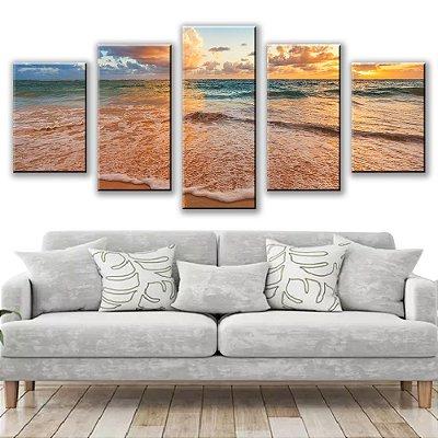 Quadro Decorativo Beira da Praia 5 Partes 115x50cm
